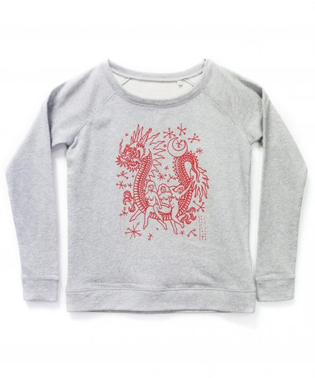Sweat Tout feu tout fleur – motif Dragon/Pin-up
