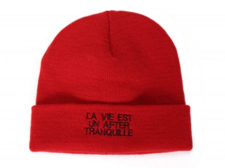 Bonnet La vie est un after tranquille – Rouge